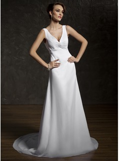 A-Line/Princess V-neck Court Train Chiffon Lace Wedding Dress With Ruffle Beadwork (002011583)