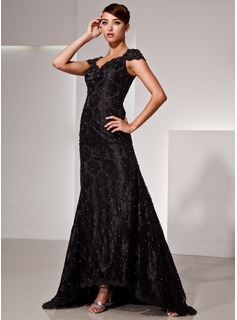 Mermaid V-neck Asymmetrical Charmeuse Lace Evening Dress With Beading (017025833)