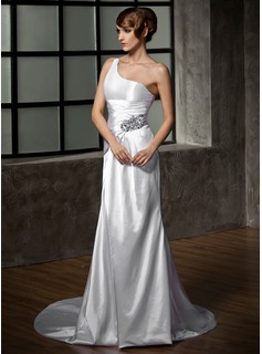 Sheath/Column One-Shoulder Court Train Charmeuse Wedding Dress With Ruffle Beadwork (002011919)