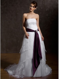 A-Line/Princess Strapless Court Train Organza Satin Wedding Dress With Ruffle Sashes Crystal Brooch
