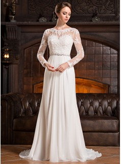 A-Line/Princess Scoop Neck Sweep Train Chiffon Lace Wedding Dress With Ruffle Beading Sequins