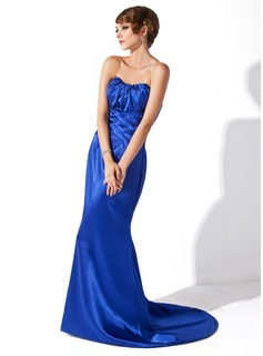 Sheath Sweetheart Sweep Train Charmeuse Evening Dress With Ruffle (017025999)
