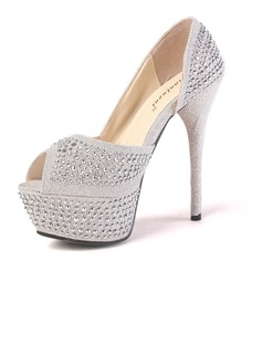 Sparkling Glitter Fabric Stiletto Heel Peep Toe Platform Pumps With Rhinestone (085016518)
