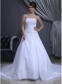 A-Line/Princess Sweetheart Cathedral Train Organza Satin Wedding Dress With Beading