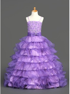 A-Line/Princess Floor-Length Organza Flower Girl Dress With Beading Sequins Cascading Ruffles