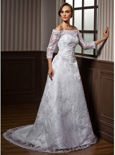 A-Line/Princess Off-the-Shoulder Court Train Satin Lace Wedding Dress With Beading