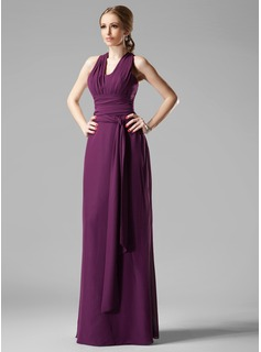 Sheath/Column V-neck Floor-Length Chiffon Bridesmaid Dress With Ruffle