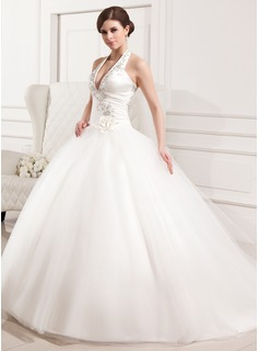Ball-Gown Halter Chapel Train Satin Tulle Wedding Dress With Embroidery Ruffle Flower(s)