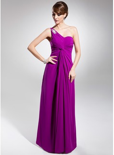A-Line/Princess One-Shoulder Floor-Length Chiffon Evening Dress With Ruffle Beading Appliques