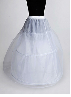 Nylon A-Line Full Gown 2 Tier Floor-length Slip Style/ Wedding Petticoats (037023563)