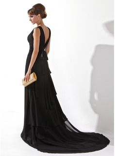 A-Line/Princess V-neck Court Train Chiffon Evening Dress With Ruffle
