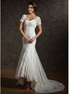 Mermaid Sweetheart Asymmetrical Satin Tulle Wedding Dress With Ruffle Lace Beadwork