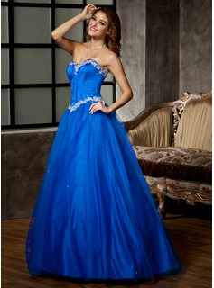 Ball-Gown Sweetheart Floor-Length Satin Tulle Prom Dress With Lace Beading Sequins