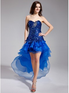 A-Line/Princess Sweetheart Asymmetrical Organza Sequined Prom Dress With Beading (018018891)