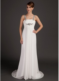 Empire Scoop Neck Watteau Train Chiffon Mother of the Bride Dress With Ruffle Beading