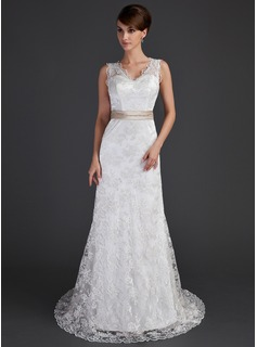 A-Line/Princess V-neck Court Train Charmeuse Lace Wedding Dress With Sash Beading Bow(s)