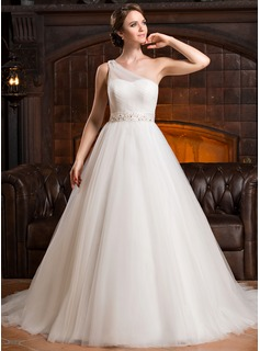Ball-Gown One-Shoulder Chapel Train Satin Tulle Wedding Dress With Ruffle Beading