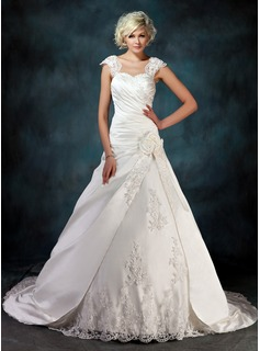 Ball-Gown Sweetheart Court Train Satin Tulle Wedding Dress With Ruffle Lace Beadwork Flower(s) (002000435)