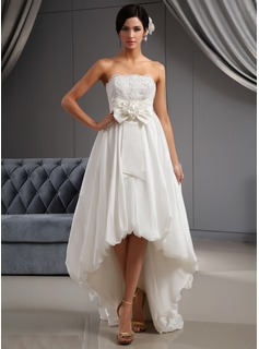 A-Line/Princess Strapless Asymmetrical Taffeta Wedding Dress With Lace Flower(s)