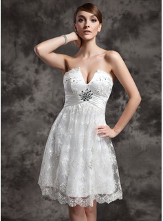 Empire Sweetheart Knee-Length Charmeuse Lace Wedding Dress With Ruffle Beadwork Sequins (002024079)