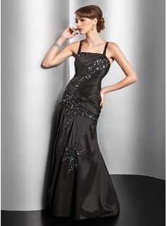A-Line/Princess Square Necklin Floor-Length Taffeta Evening Dress With Ruffle Lace Beading