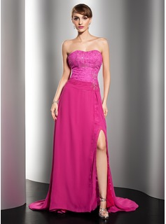 A-Line/Princess Sweetheart Sweep Train Chiffon Lace Evening Dress With Ruffle Beading (017014545)