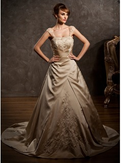 A-Line/Princess Sweetheart Court Train Satin Wedding Dress With Embroidery Ruffle Beadwork (002011554)