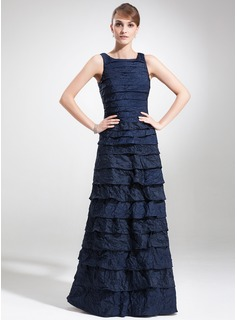 Sheath Square Neckline Floor-Length Taffeta Mother of the Bride Dress With Ruffle (008005614)