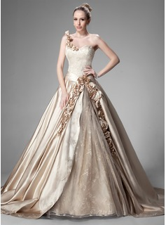 Ball-Gown One-Shoulder Chapel Train Satin Lace Wedding Dress With Ruffle Beadwork Flower(s)
