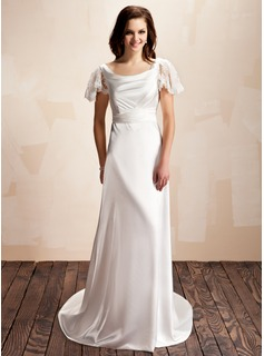 A-Line/Princess Cowl Neck Sweep Train Charmeuse Lace Wedding Dress With Ruffle (002012560)