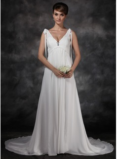 A-Line/Princess V-neck Cathedral Train Chiffon Wedding Dress With Ruffle Crystal Brooch (002011494)