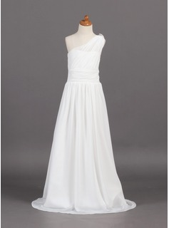 A-Line/Princess One-Shoulder Sweep Train Chiffon Junior Bridesmaid Dress With Ruffle Beading (009001768)