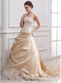 A-Line/Princess Strapless Cathedral Train Taffeta Tulle Wedding Dress With Ruffle Lace Beadwork