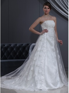 Empire Strapless Chapel Train Tulle Charmeuse Wedding Dress With Lace Beading