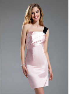 Sheath One-Shoulder Knee-Length Charmeuse Bridesmaid Dress With Sash (007019631)