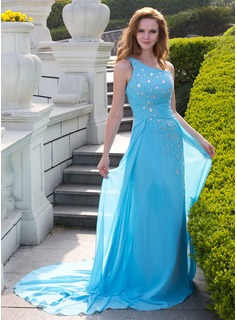 A-Line/Princess One-Shoulder Court Train Chiffon Prom Dress With Ruffle Beading (018024653)