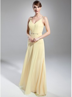 A-Line/Princess V-neck Floor-Length Chiffon Evening Dress With Ruffle Beading (017014746)
