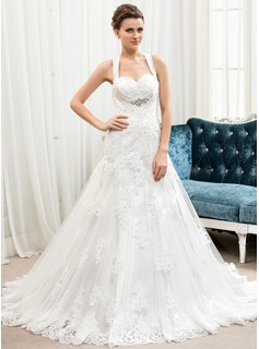 A-Line/Princess Sweetheart Court Train Satin Tulle Lace Wedding Dress With Beading Sequins