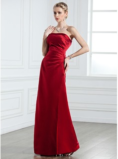 Sheath Strapless Floor-Length Satin Bridesmaid Dress With Ruffle (007001761)