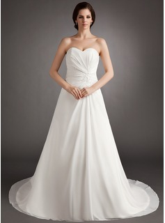 A-Line/Princess Sweetheart Court Train Chiffon Wedding Dress With Ruffle Beading
