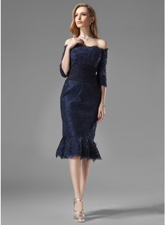 Sheath Off-the-Shoulder Knee-Length Chiffon Lace Mother of the Bride Dress With Ruffle (008004176)