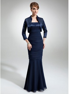 Sheath Square Neckline Floor-Length Chiffon Charmeuse Mother of the Bride Dress With Lace Beading (008006188)