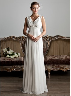 A-Line/Princess V-neck Floor-Length Chiffon Tulle Wedding Dress With Ruffle Beadwork (002013800)