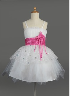 Empire Scalloped Neck Knee-Length Tulle Charmeuse Flower Girl Dress With Ruffle Sash Flower(s) Sequins