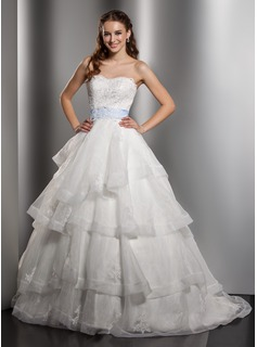 Ball-Gown Sweetheart Chapel Train Organza Satin Wedding Dress With Lace Sashes