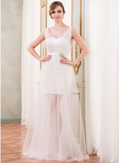 A-Line/Princess V-neck Floor-Length Tulle Prom Dress With Ruffle Beading Flower(s)
