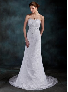 Sheath/Column Sweetheart Court Train Satin Lace Wedding Dress With Ruffle Beadwork Sequins