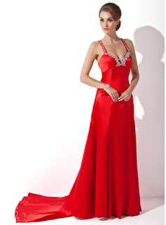 Sheath Sweetheart Watteau Train Charmeuse Prom Dress With Beading Appliques Sequins (018002512)