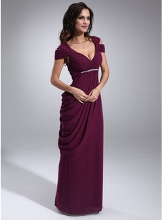 Sheath V-neck Floor-Length Chiffon Mother of the Bride Dress With Ruffle Beading (008021115)