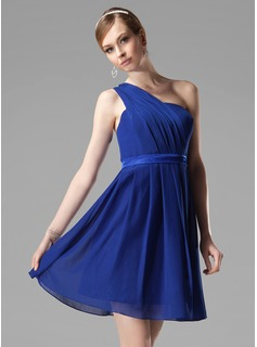 A-Line/Princess One-Shoulder Short/Mini Chiffon Charmeuse Bridesmaid Dress With Ruffle (007000777)